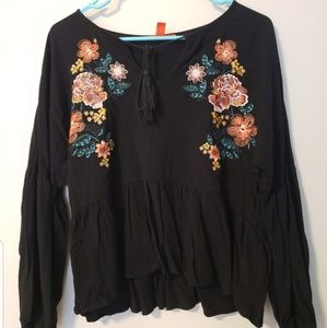 Medium Black Floral Blouse